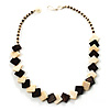 Brown & Antique White Ceramic Geometric Necklace