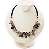 Antique Silver Tone Charm Leather Style Necklace