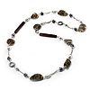 Long Shell, Simulated Pearl & Wood Bead Necklace (Beige, White & Brown) - 110cm Length