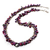 Purple Bead & Shell Long Necklace (Burn Silver Tone)