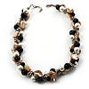 Exquisite Faux Pearl &amp; Shell Composite Silver Tone Link Necklace (Antique White &amp; Black)