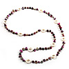 Magenta &amp; White Long Shell Necklace (116cm)