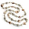 Long Shell Composite & Imitation Pearl Bead Silver Tone Necklace (110cm)