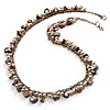 Antique White Bead & Shell Long Necklace (Burn Silver Tone)