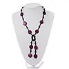 Glass & Shell Bead Tassel Necklace (Purple & Black)