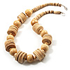 Antique White Wood Button & Bead Chunky Necklace - 55cm
