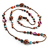 Long Multicoloured Shell &amp; Glass Bead Necklace