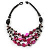 3 Strand Black, White &amp; Magenta Shell &amp; Bead Necklace