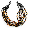 Multistrand Glass And Shell - Composite Necklace (Black & Mustard)