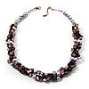 Multistrand Simulated Pearl And Shell - Composite Choker Necklace (Lavender, Purple & Pink) - 42cm Length