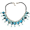 Light Blue Shell Composite Charm Leather Style Necklace (Silver Tone)