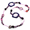 Purple Shell &amp; Wood Bead Long Necklace - 90cm Length