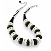 Black, White & Silver Chunky Button Acrylic Bead Choker Necklace