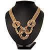 Gold Tone Mesh Knot Choker Necklace