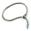 Silver Plated Enamel Crystal Snake Choker Necklace
