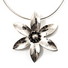 Rhodium Plated Daisy Pendant Wire Necklace