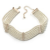 6-Strand Faux Pearl Bridal Diamante Choker Necklace (Silver Plated Metal)