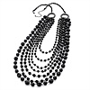 Long Modern Black Acrylic Multi Strand Necklace (Black Tone) - 100cm Length