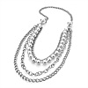 Long Multi Strand Pearl Style Necklace (Silver Tone) - 100cm