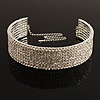 8-Row Swarovski Crystal Choker Necklace (Silver&amp;Clear)
