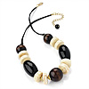 Wood & Resin Bead Chunky Silk Cord Necklace (Godl Tone) - 44cm Lenght