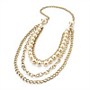 4 Strand Long Pearl Style Gold Plated Necklace -104cm Length