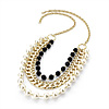 4 Strand Long Pearl Style Gold Plated Necklace - 80cm Length