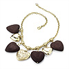 Gold & Wood Heart Charm Necklace (Gold Plated) - 42cm Length