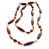 Long Acrylic Bead Necklace (Brown, Amber & Gold Colour) -110cm Length