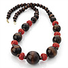 Long Chunky Wood Bead Necklace (Chocolate Brown & Red Carrot) - 80cm Length
