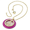 Deep Pink Crystal &#039;Peace&#039; Sign Pendant Necklace (Gold Tone) - 64cm Length