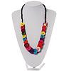 Multicoloured Plastic Button Necklace - 60cm Length