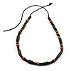 Unisex Brown/ Light Brown Wood Bead Necklace - 40cm Length