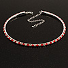 Thin Austrian Crystal Choker Necklace (Clear & Hot Red)