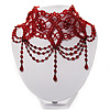 Stunning Hot Red Wide Beaded Choker (Silver Tone Metal)