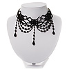Chic Victorian/ Gothic/ Burlesque Black Bead Choker Necklace
