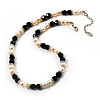 Ivory Freshwater Pearl Necklace With Crystal Rings &amp; Black Glass Beads (7mm)