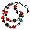 2 Strand Wood Bead Cotton Cord Necklace (Multicoloured) - 74cm