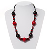 Black & Red Wood Bead Cord Necklace - 56cm