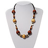 Light & Dark Brown Wood Bead Cord Necklace - 56cm