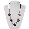 Delicate Shell Floral Leather Cord Necklace - 62cm Length
