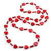Bright Red Heart Shell & Bead Long Necklace -100cm Length