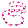 Bright Pink Heart Shell & Bead Long Necklace -100cm Length