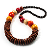 Long Multicoloured Chunky Wood Bead Necklace (Brown, Yellow, Orange & Red) - 76cm length