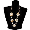 Antique White Shell Floral Leather Cord Long Necklace -78cm Length