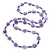 Lavender Heart Shell &amp; Bead Long Necklace -100cm Length