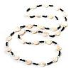 White Heart Shell & Bead Long Necklace - 100cm Length