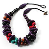 Multicoloured Chunky Wood Bead Cotton Cord Choker Necklace - 44cm