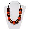 Chunky Beaded Cotton Cord Necklace (Black & Orange)