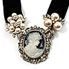 Stunning Simulated Pearl Cameo Black Velour Ribbon Necklace (Silver Tone)